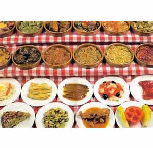 A RANGE OF SPANISH TAPAS AND OLIVES